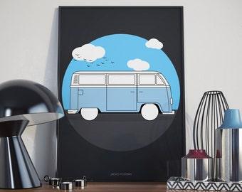 Camper Van Poster - A3 - Custom coloris.