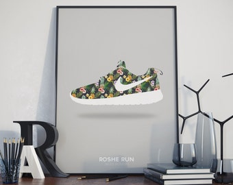 the latest dc96d be94a ... promo code for roshe run poster colour options available. nike. floral.  flowers.