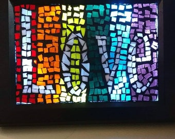 """Stained glass mosaic """"Love"""""""
