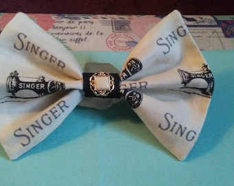 Vintage Singer Company Print Hair Bow