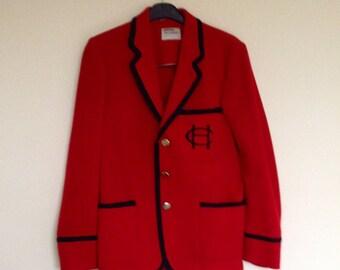Vintage 1970s Wool Blazer by Beau Brummel in Red with Black Braid and Badge