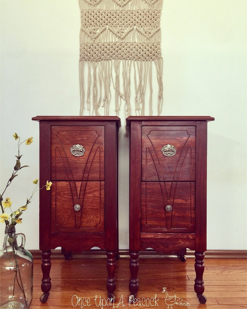 Custom Order Pair of Nightstands Tall Tables Set of Solid Wood Side Tables  Available Restored or Refinished