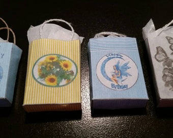 Set of 4 Dollhouse Miniature Happy Birthday Shopping Bags 1:12 Scale
