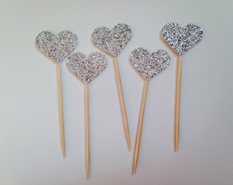 Heart Cupcake Toppers - Bridal shower Decor - Bachelorette Party decor - Wedding Cake Toppers - Custom Cake Toppers