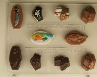PIRATE TREASURE CHEST CLEAR PLASTIC CHOCOLATE CANDY MOLD H123