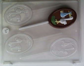 Stork standing with Baby on Oval with wood frame B039 Chocolate Candy Mold