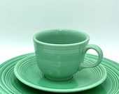 Vintage Fiesta Ware Homer Laughlin,Two Green Cups and Eight Saucers,Vintage Collectible Plates,Birthday Gift,Christmas Gift