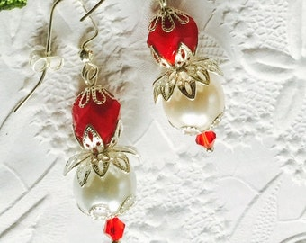 Christmas Earrings,Vintage Inspired White Pearls and Red Faceted Beads,AAA Swarovski Siam Red Crystals,Holiday Jewelry,Silver Plate