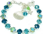Hawaiian Romance,Gorgeous shades of Aquamarine and Light Turquoise Bring Fond Memories,Beach Bracelet and Earrings,Tropical Jewelry