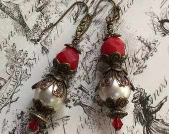 Christmas Earrings, Vintage Inspired, AAA Swarovski Red Crystals and Pearls,Wire Wrapped Bronze Components,Beautiful Holiday Jewelry