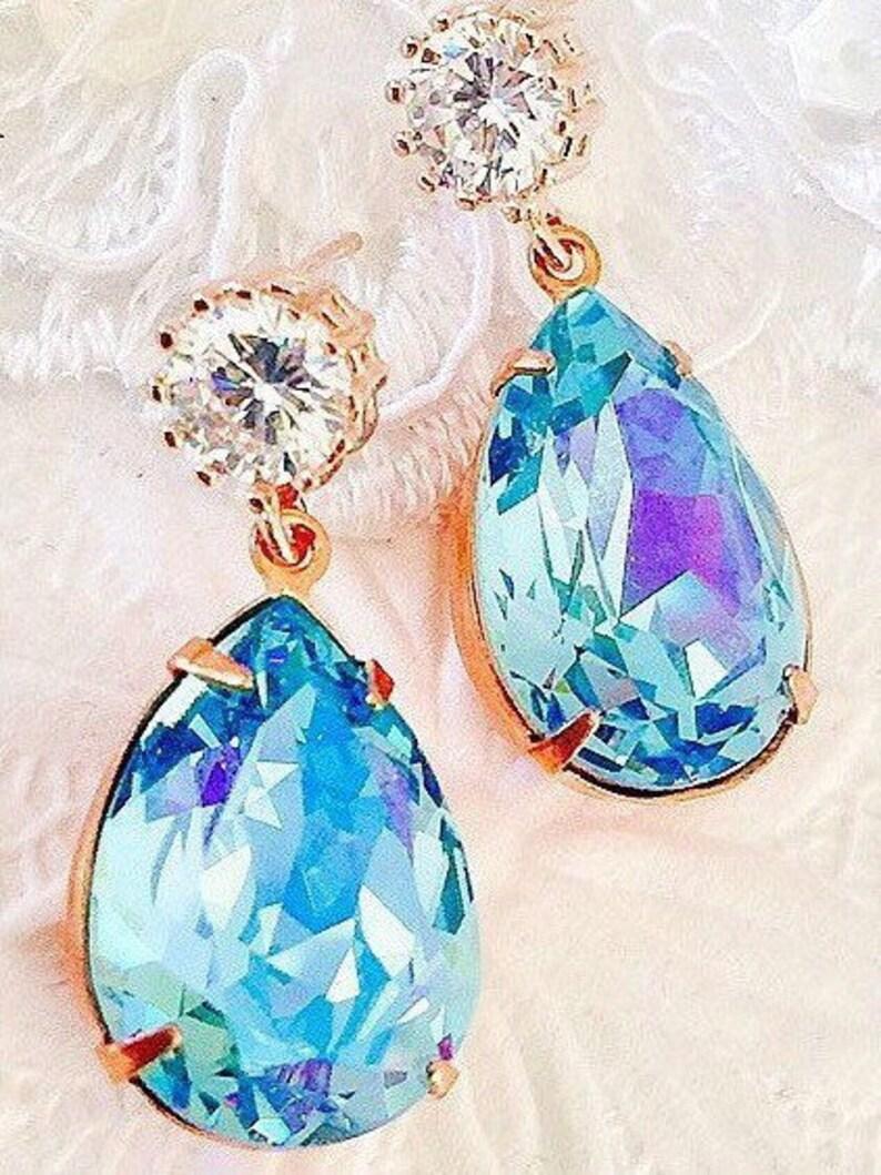 cec2ebadd Aqua Glacier Blue Jewelry SetBridal Jewelry SetExquisite   Etsy
