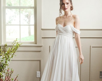 Off The Shoulder Simple Wedding Gown, For The Modern Bride