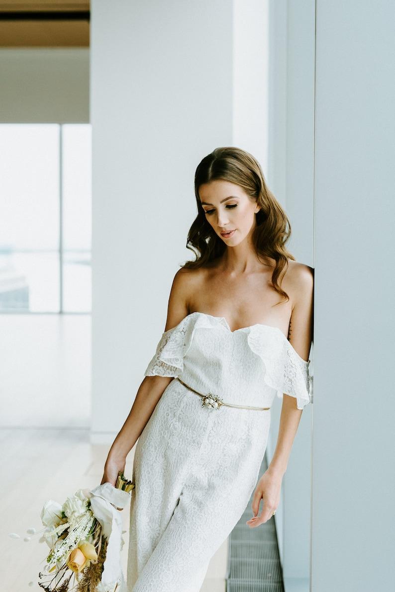 40fd0d70a25 Lace Pantsuit for The Modern Bride Off the Shoulder Simple