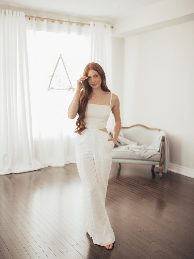 71c9ebb0f64 Simple White Jumpsuit for The Modern Bride Backless Bridal