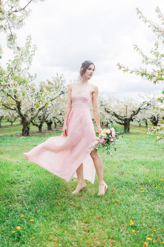 Bridesmaid Dress Flowy Dress with Side Pockets Custom Floral Print