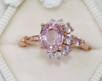 Oval Pink Sapphire Ring, Pink Sapphire Cluster Engagement Ring Luna Collection, One of a kind Half-Moon Crescent Ring