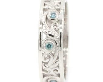 Leaf Wedding Ring, Rustic Wedding Band, Teal Blue Diamond Wedding Ring, Vine Leaf Eternity Band