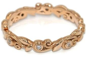 Leaf eternity wedding ring, boho diamond rustic ring, Rose gold eternity diamond wedding ring, Dainty bohemian wedding band, delicate ring