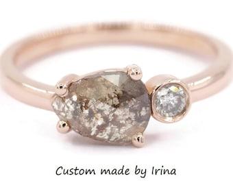 Pear Grey Rose Cut Diamond Ring, Rustic Gray Diamond Engagement Ring, East West Teardrop Diamond Ring, Organic Boho 14k Rose Gold Ring