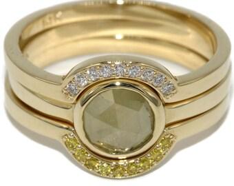Nesting Engagement Rings Set, Rose Cut Diamond Stacking Ring Set, Engagement stacking rings set, Rustic Diamond Stack-able 3 rings set