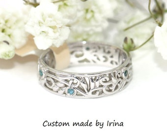 SALE, Leaf Wedding Band, 5 mm wide eternity band, Rustic Leaf Filigree Band, Nature Inspired Wedding Eternity Ring, sz 5, Ready To Ship