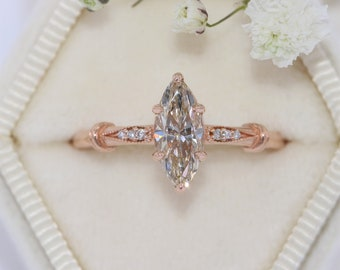 Marquise Diamond Edwardian Engagement Ring, Vintage Style Inspired Natural Diamond Engagement Ring
