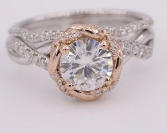 Moissanite engagement ring set, diamond wedding ring set, dainty rose gold moissanite engagement rings, boho delicate infinity diamond rings