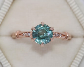 Montana Sapphire Engagement Ring, Unheated Natural Montana Sapphire Ring, Vintage Inspired Ring, Blue Green 1 carat Teal Sapphire Ring