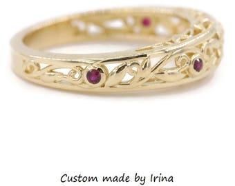Rustic leaf ruby wedding ring, bohemian vintage style filigree wedding band, dainty boho engagement ring