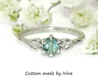 Kite Diamond Engagement Ring, Teal Green Montana Sapphire Ring, Shiny Sapphire Ring, Three Stone Sapphire Ring, Size 6