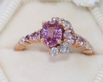 Oval 1 carat Pink Sapphire Engagement Ring, One Of A Kind Crescent Engagement Ring, Rose Gold Half Moon Ring, Size 7, Ready to Ship Ring