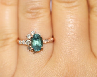 Montana Sapphire Engagement Ring, Unheated Sapphire Engagement Ring, Teal Blue Green Oval Montana Ring, One Of A Kind Half-moon ring