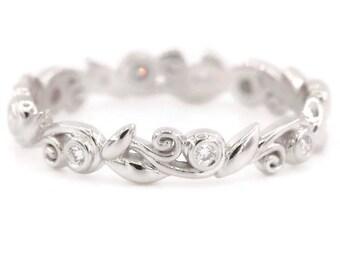 Leaf Ring, Rustic Vine Leaves Filigree Scroll Wedding Ring, Organic Diamond Wedding Band, Woodland Wedding Ring, Nature Inspired Ring