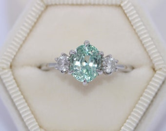 3 Stone Ring, SETTING ONLY, Teal Green Custom Made Ring, 3 Stone Engagement Ring, Salt and Pepper Diamond Ring, Three Stone Diamond Ring