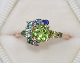 Custom Cluster Ring by Irina, Colorful Ombre Blue Green Sapphire Ring, Asymmetrical One Of A Kind Ring, 14k Rose Gold Ring Peridot ring