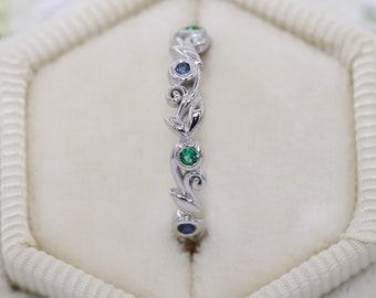 Alternating Emeralds And Sapphires Rustic Leaf Filigree Wedding Eternity Ring by Irina