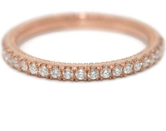 Rose gold Diamond Wedding ring, half eternity ring, dainty wedding band, rose gold ring, straight wedding ring, boho pink gold ring