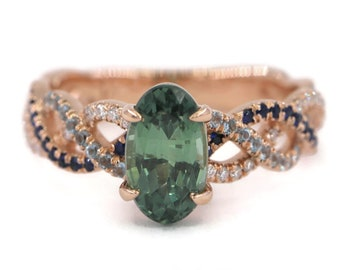 Unheated Montana Sapphire Engagement Ring, Natural Montana Sapphire Ring, Oval Mermaid Oval Teal Blue Green Sapphire Ring, Twist Rope Ring
