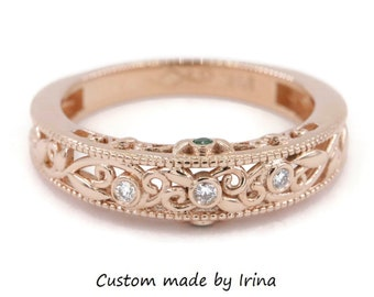 Edwardian Style Scroll Work Rose Gold Wedding Ring by Irina
