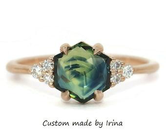Hexagon Blue Green Sapphire Ring, Custom Made Parti Sapphire Ring