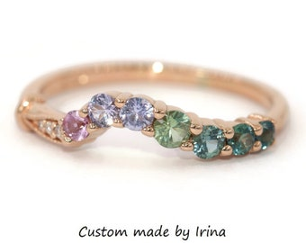 Colorful Unique Sapphire Matching Band, Ombre Multi Stone Wedding Ring, Cluster Matching Wedding Band, Custom Made Nesting Wedding Band