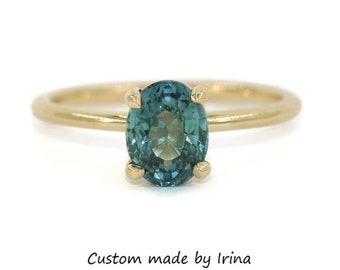 Montana Sapphire Engagement Ring, SETTING ONLY, Custom Made Unheated Natural Montana Ring, 14k Gold Teal Blue Green Mermaid Sapphire Ring