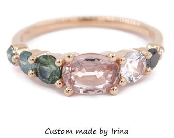 1 carat Pink Sapphire Cluster Engagement Ring, Peach Pink Ombre Cluster Diamond One Of A Kind Ring, Colorful multi stone Ring, Unique Ring