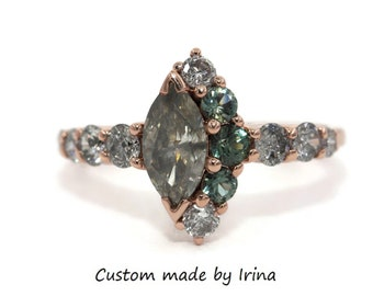 Smokey Gray Diamond Cluster Ring, One Of A Kind Engagement Ring, Marquise Diamond Unique Engagement Ring, Half-Moon Celestial Crescent Ring