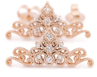 Princess Crown Tiara Earrings, Queen royal stud diamond earrings, diadem studs for Princess, Anniversary Gift studs, Ready to ship