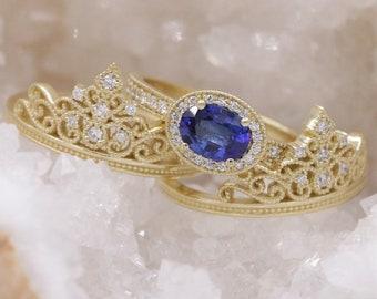 Diadem Sapphire Engagement Rings Set by Irina