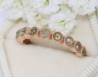 Rustic Bohemian 14k Rose Gold Wedding Ring, Boho Rose Cut Diamond Wedding Band, Multi Color Organic Nature Inspired Diamond Ring, Size 6.5