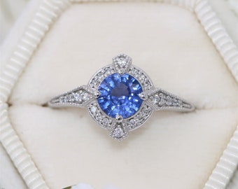 1 carat Blue Natural Sapphire Engagement Ring, Vintage Style Sapphire Diamond Ring, Edwardian Style Engagement Ring, Custom Made by Irina