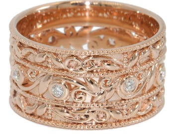 Vine Leaf Paisley Scroll Pattern Wedding Ring, 10 mm Wide Rose gold Diamond Eternity Wedding Band, Cigar Scroll Ring