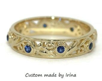 Sapphire eternity ring, leaf ring, rustic wedding ring, whimsical wedding band, nature ring, boho ring, eternity wedding band, filigree ring